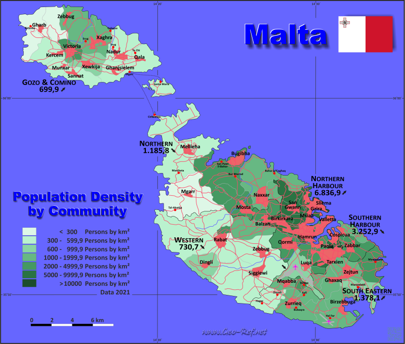 Map Malta - Population density