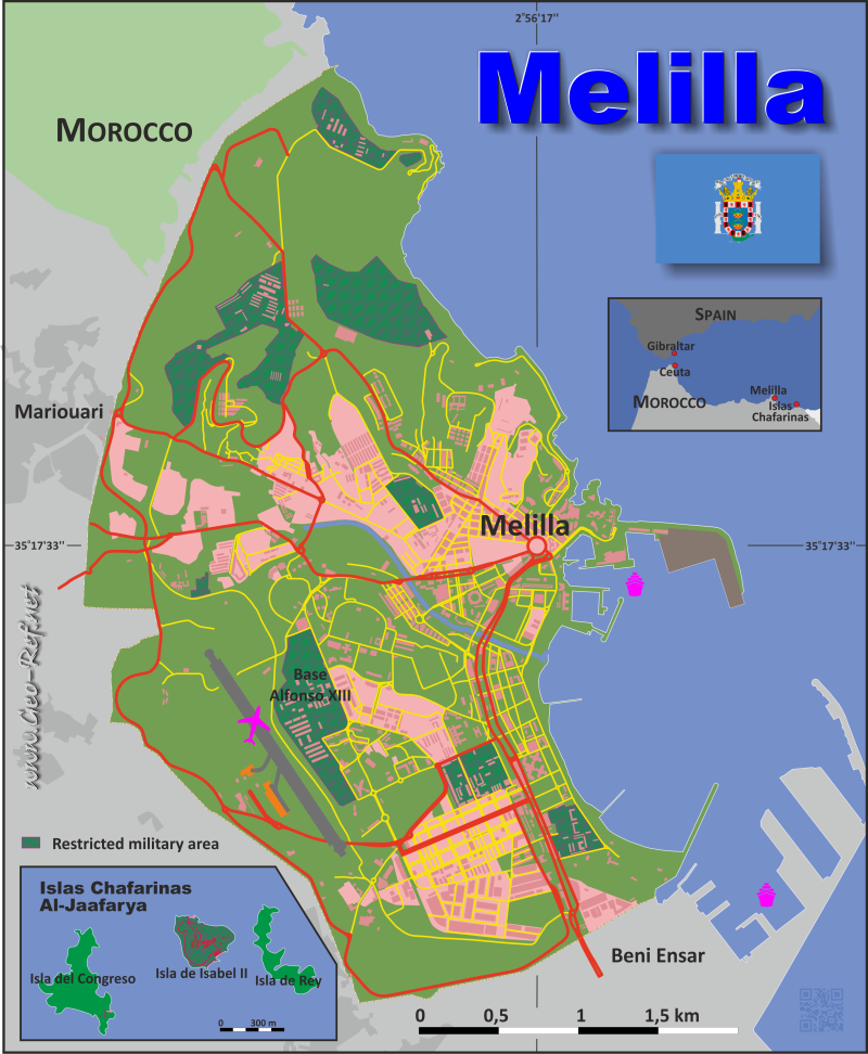 Map Melilla - Population density