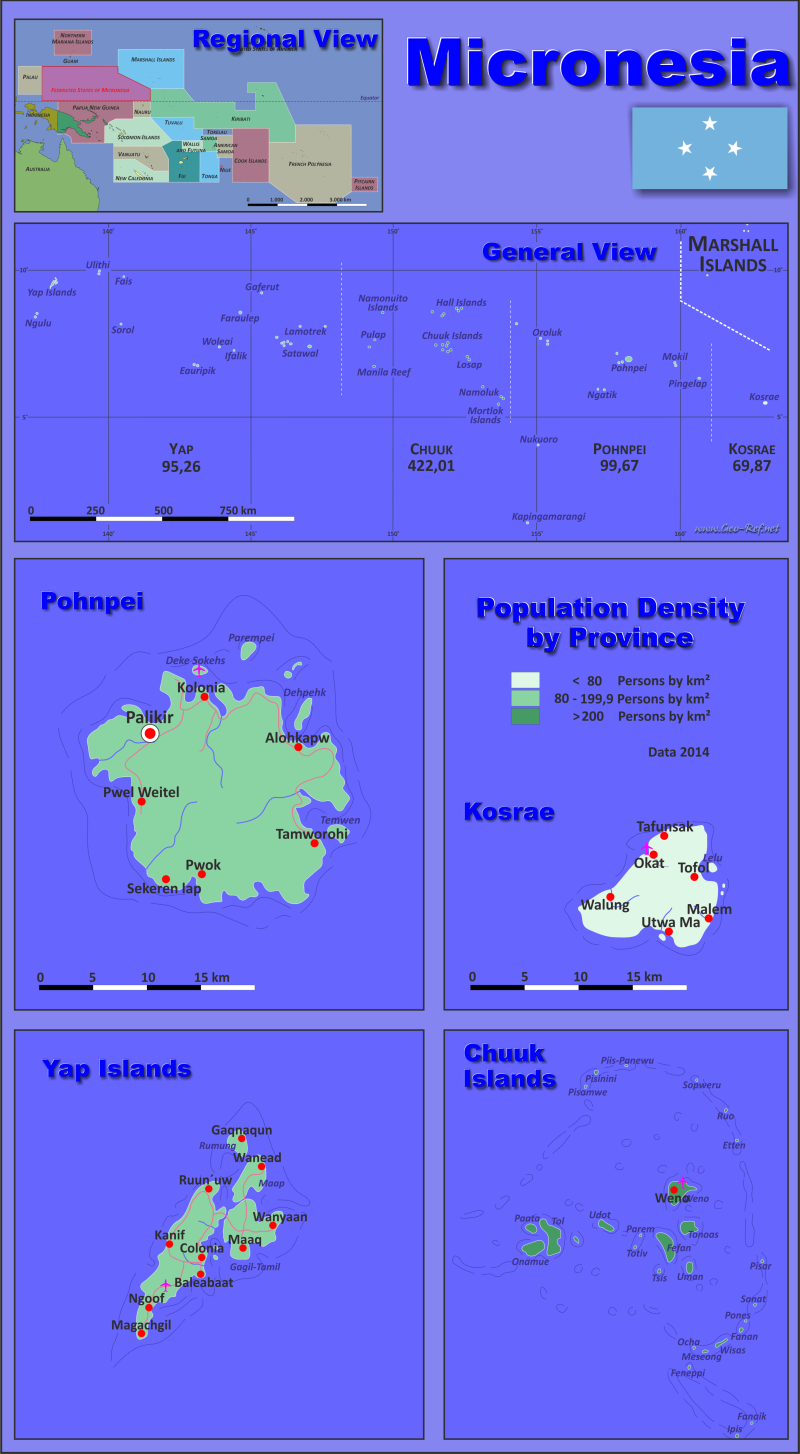 Map Micronesia - Population density
