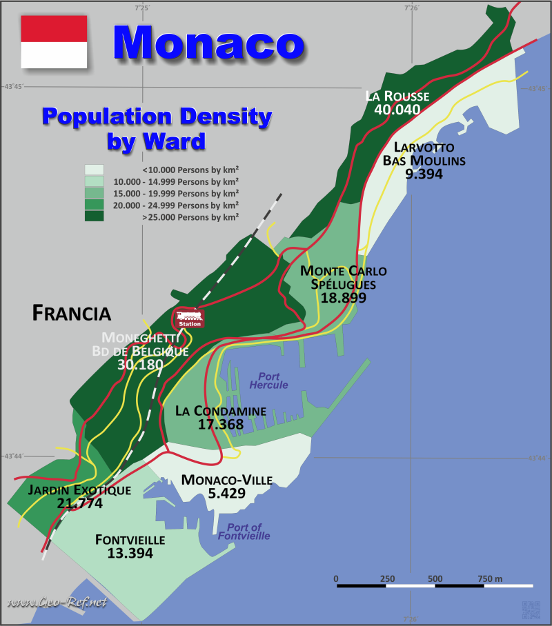 Map Monaco - Population density