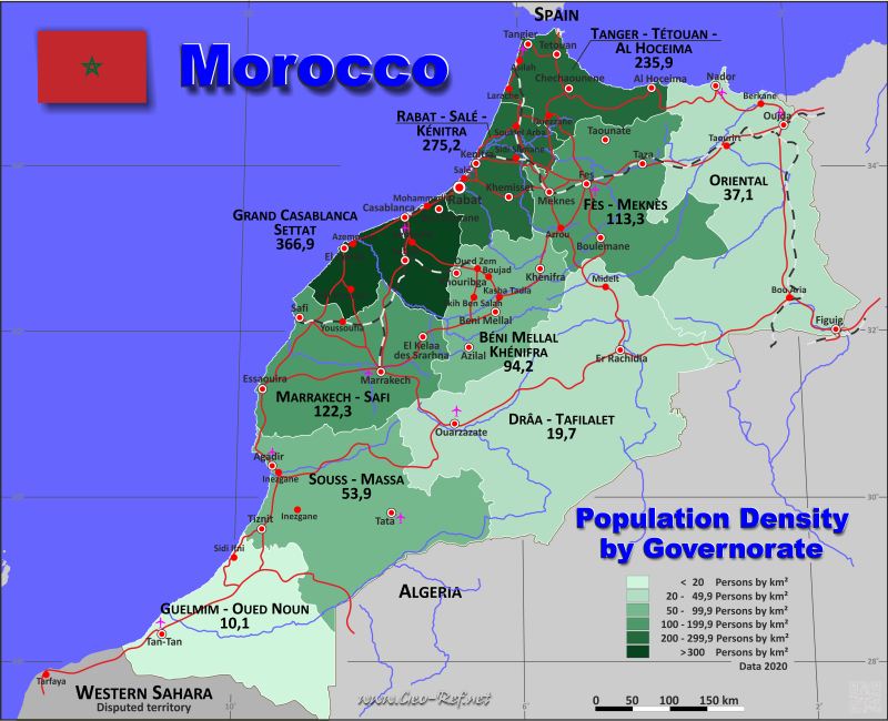 Map Morocco - Population density