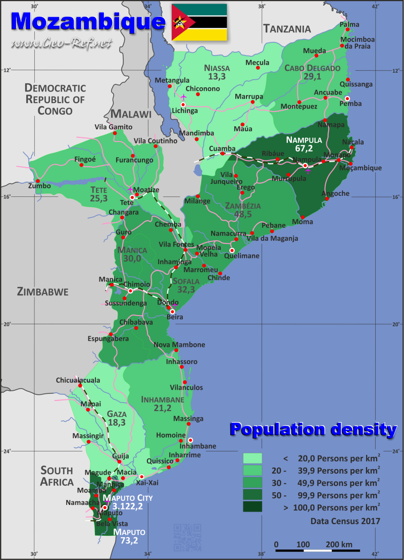 Map Mozambique Popultion density by administrative division