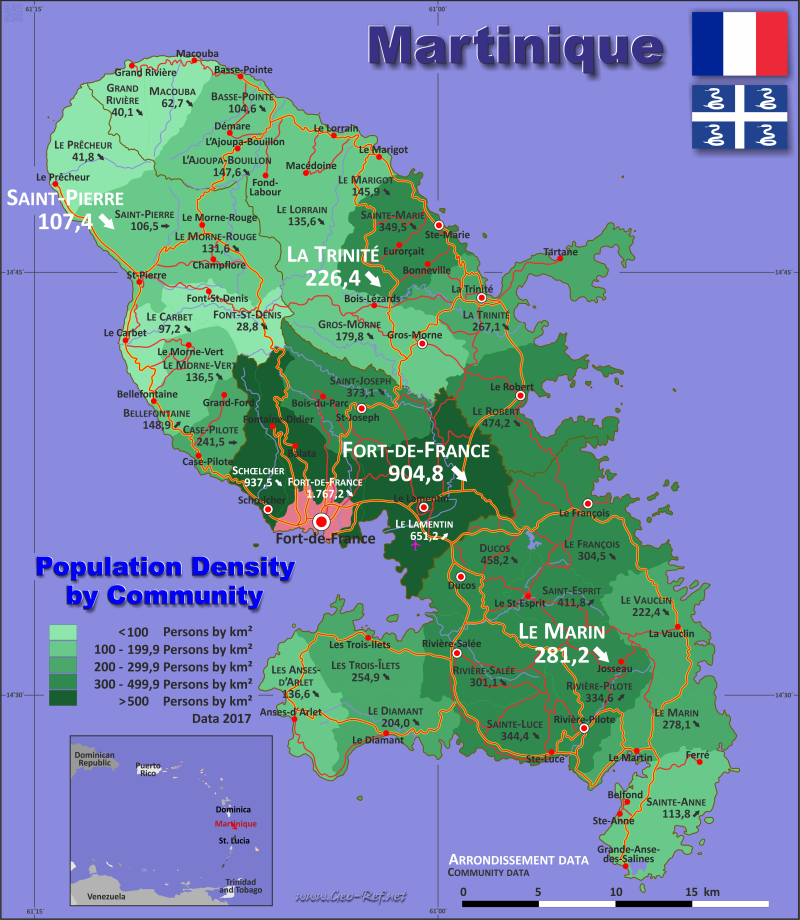 Map Martinique - Population density