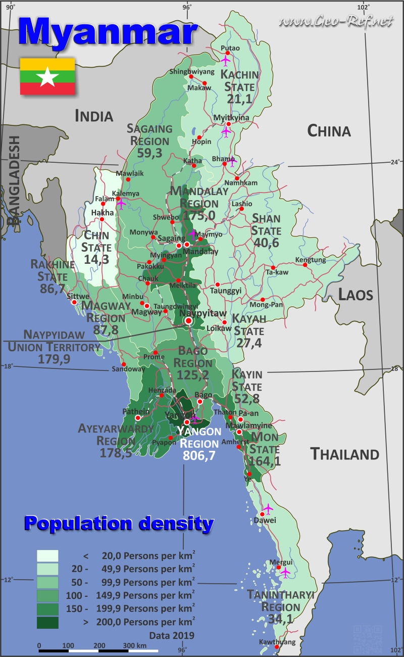 Map Myanmar / Burma - Population density