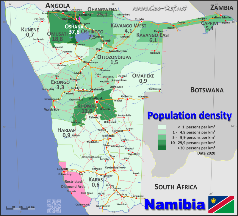 Map Namibia - Administrative division - Population density 2020