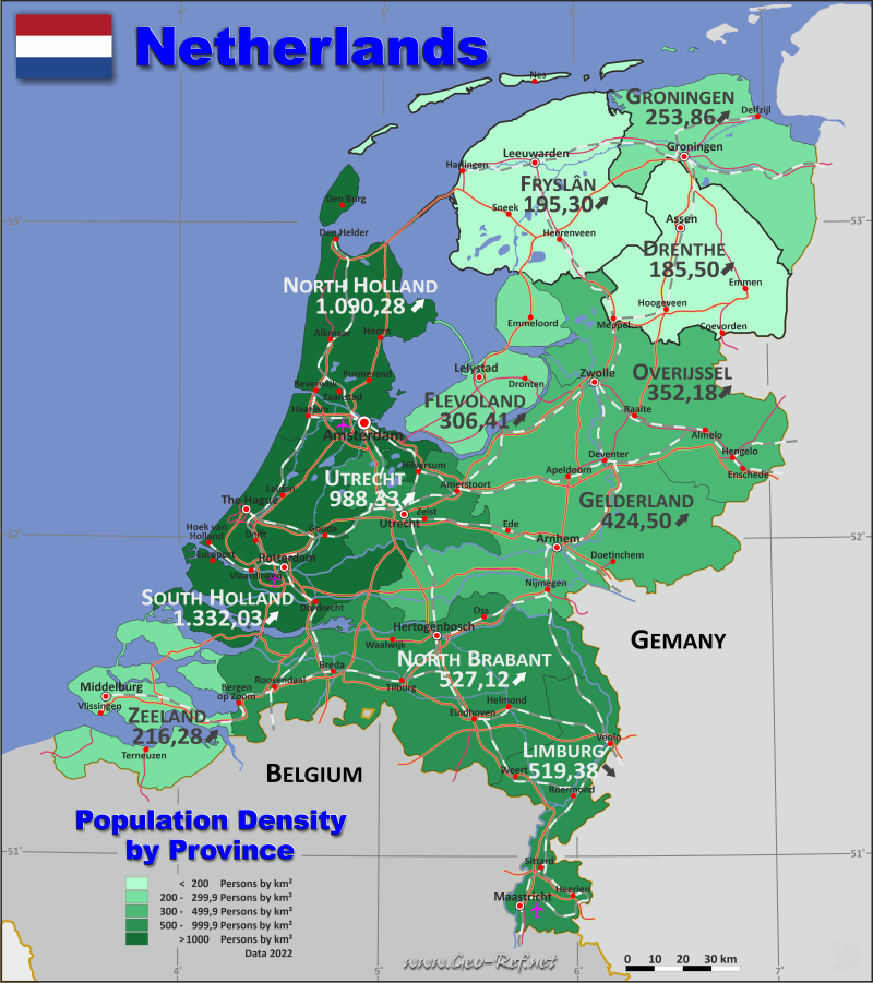 Map Netherlands - Population density
