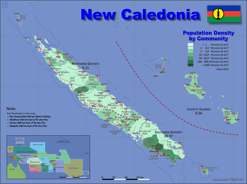 Map New Caledonia - Population density