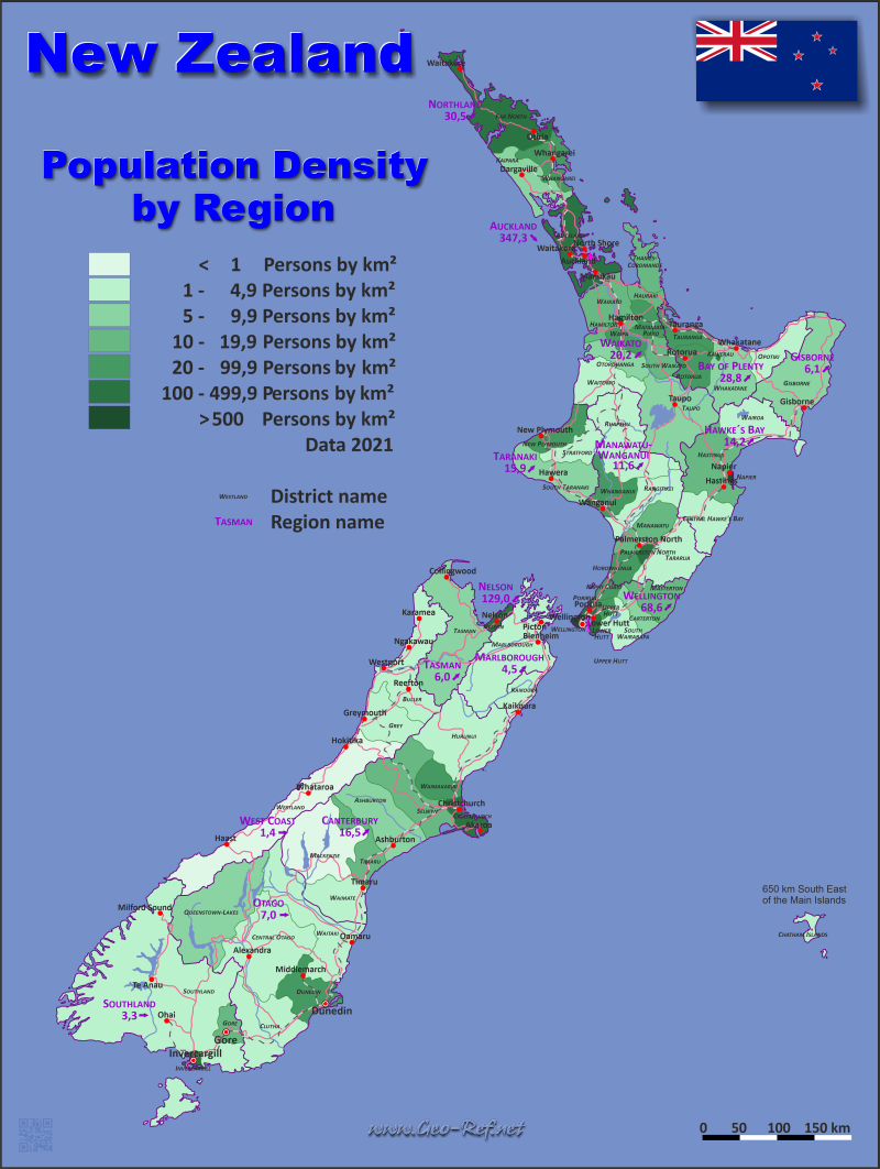Map New Zealand - Administrative division - Population density 2020