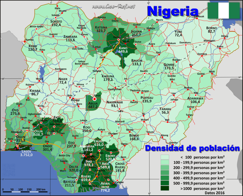 Map Nigeria - Population density