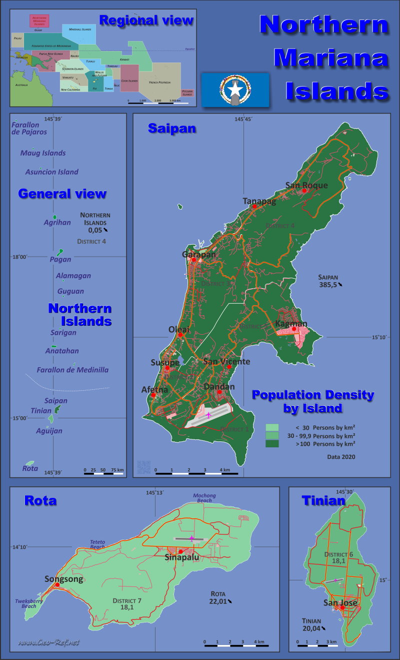 Map Northern Mariana Islands - Population density