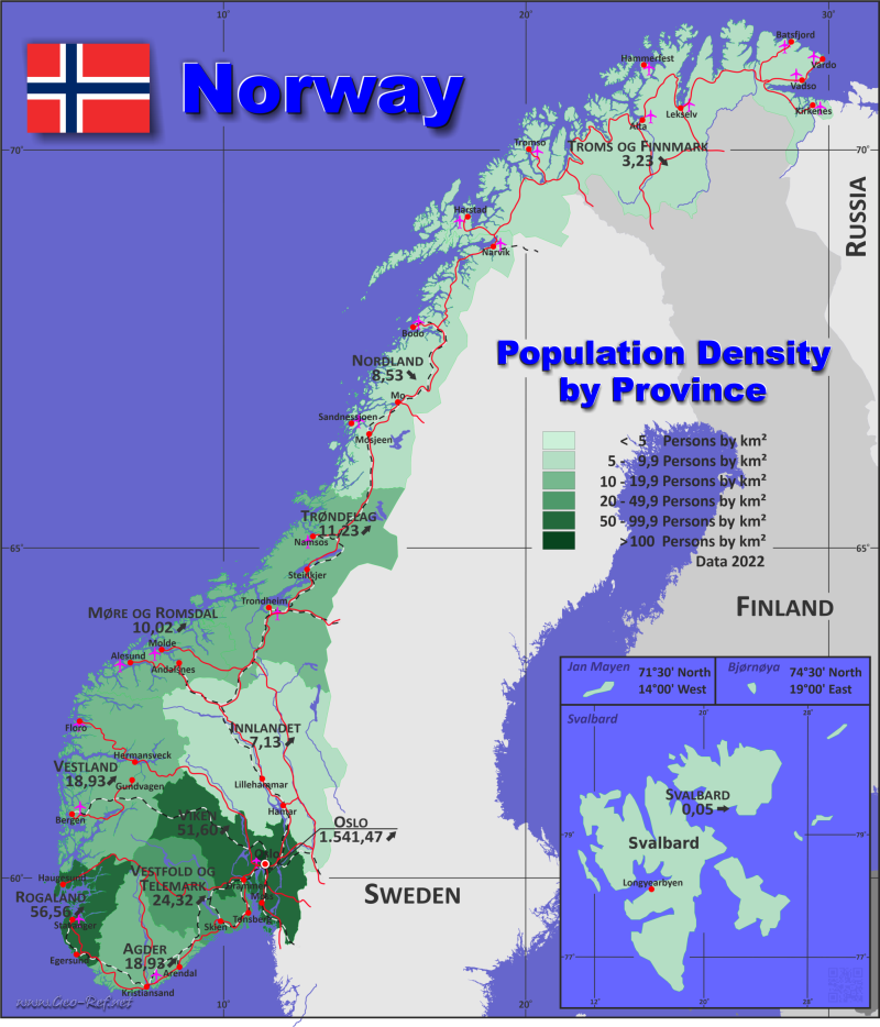 Map Norway - Administrative division - Population density 2020