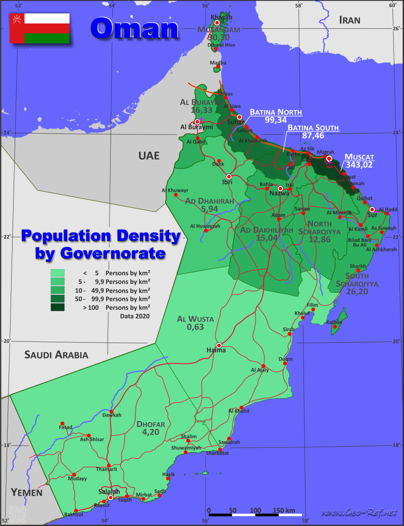 Map Oman - Population density