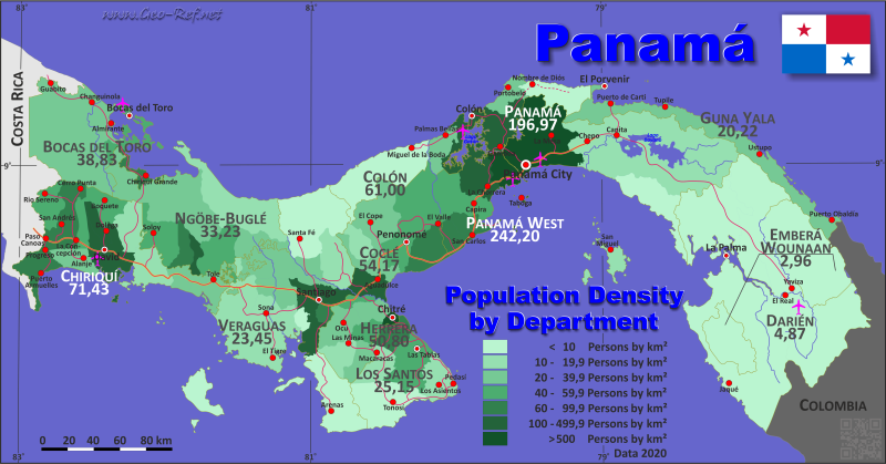 Map Panama - Administrative division - Population density 2019