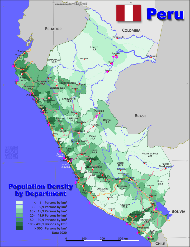 Map Peru - Population density