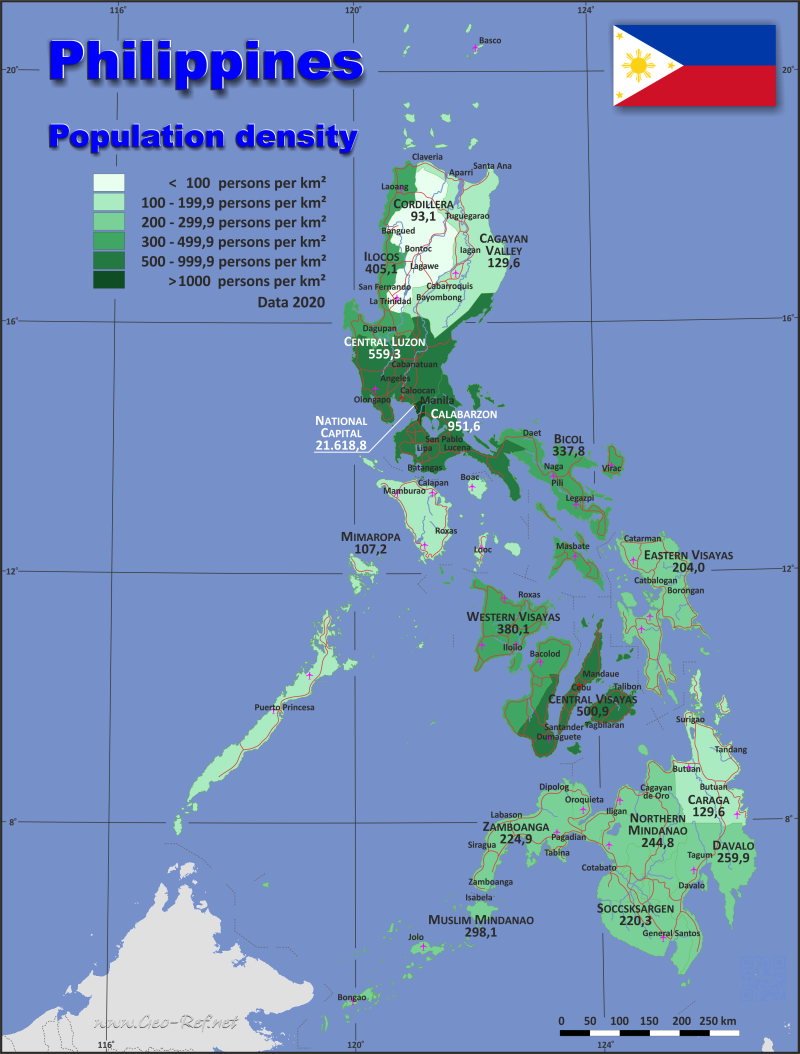 Map Philippines - Administrative division - Population density 2015