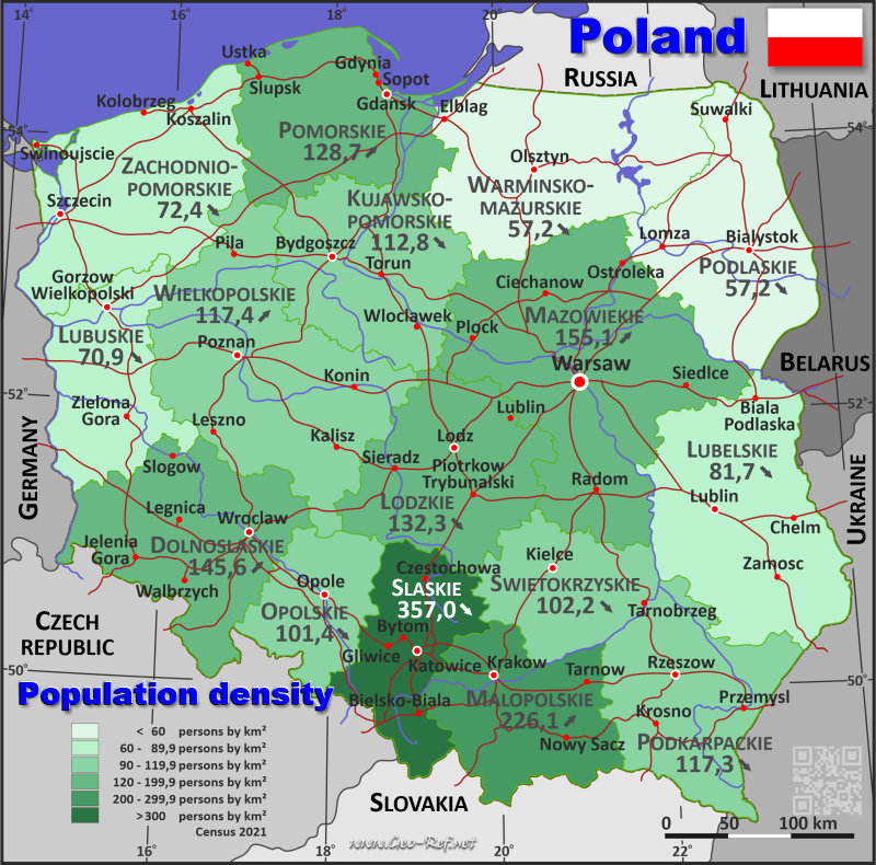 Map Poland - Population density