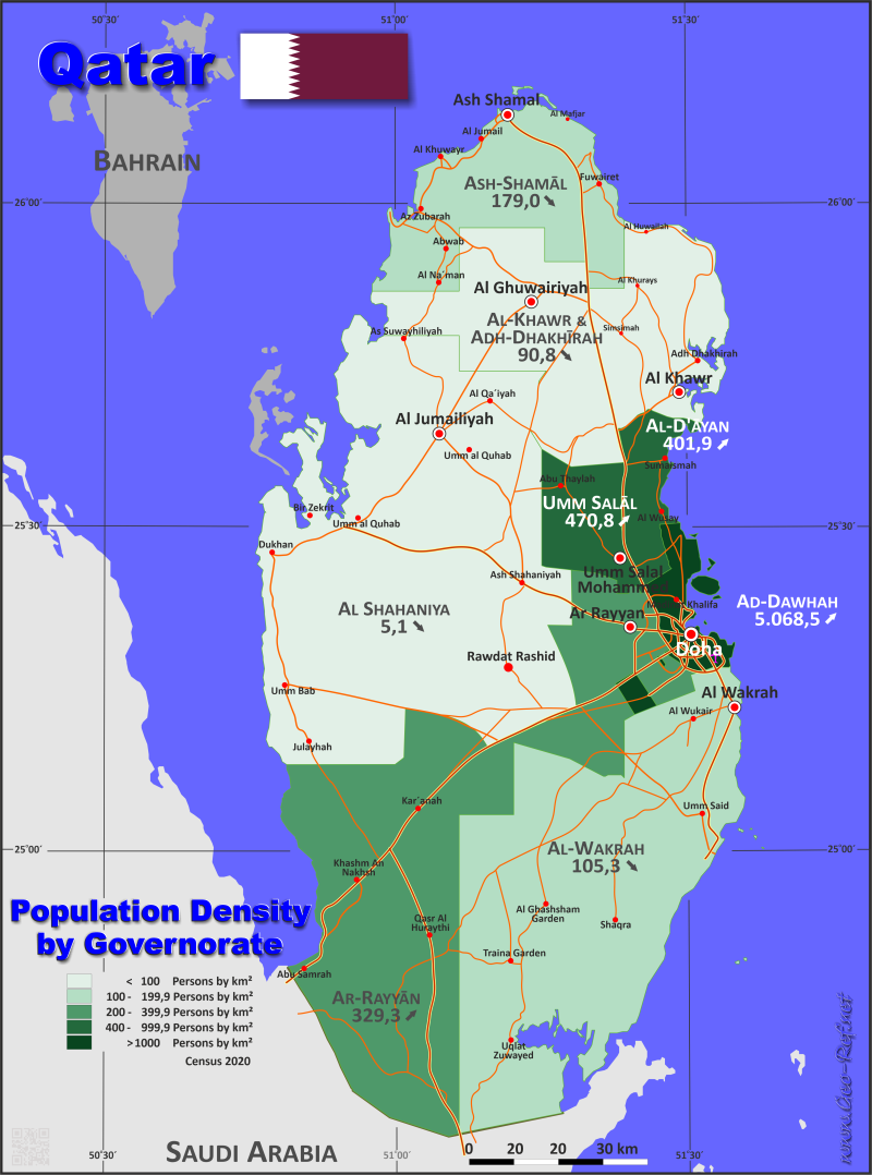 Map Qatar - Administrative division - Population density 2015