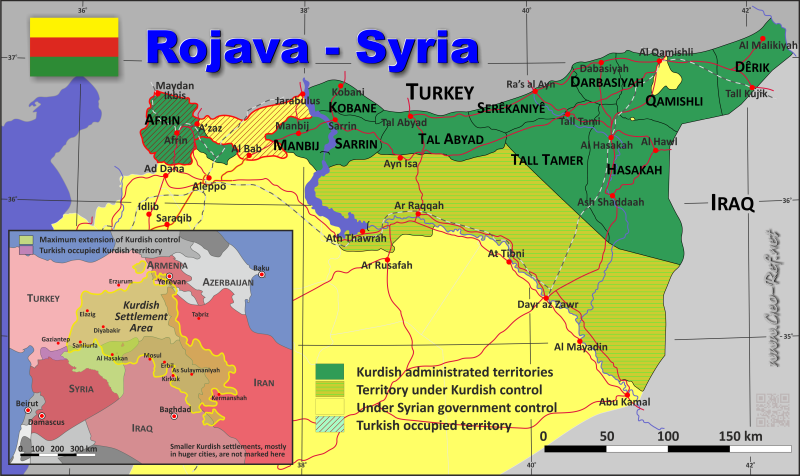 Map Rojava - Administrative division - Population density 2018
