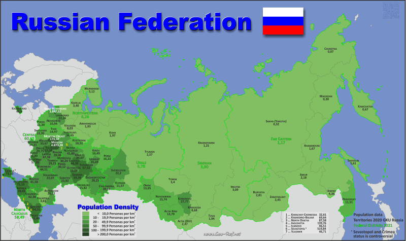 Map Russia - Population density