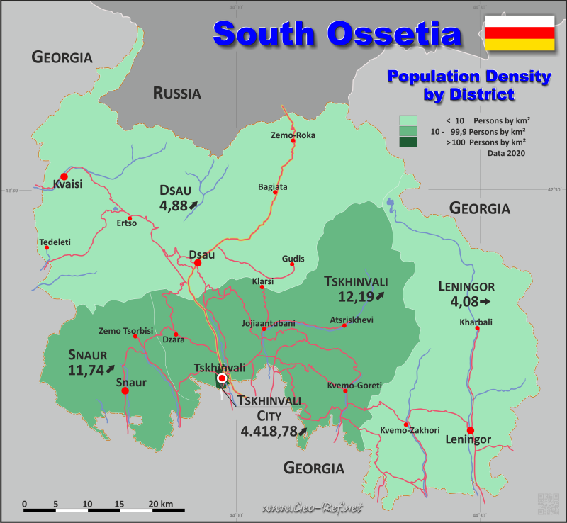 Map South Ossetia - Administrative division - Population density 2015