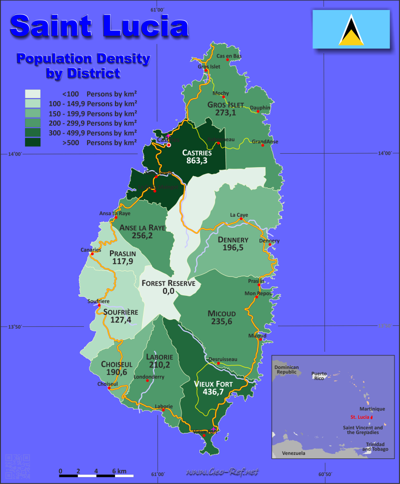 Map Saint Lucia - Administrative division - Population density 2016
