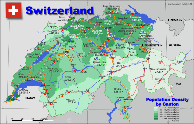 Map Switzerland - Administrative division - Population density 2020