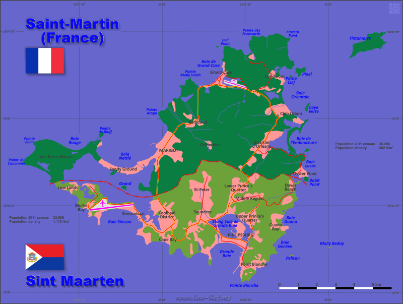 Map Saint Martin - Population density