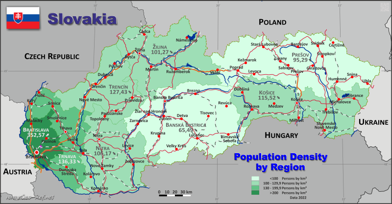 Map Slovakia - Administrative division - Population density 2020