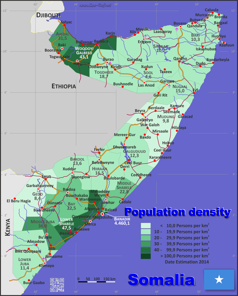 Map Somalia - Popultion density by administrative division
