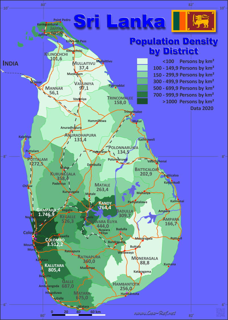 Map Sri Lanka - Administrative division - Population density 2019