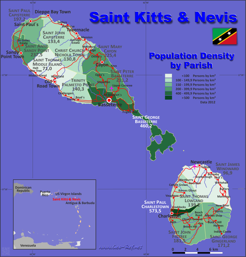 Map Saint Kitts - Population density