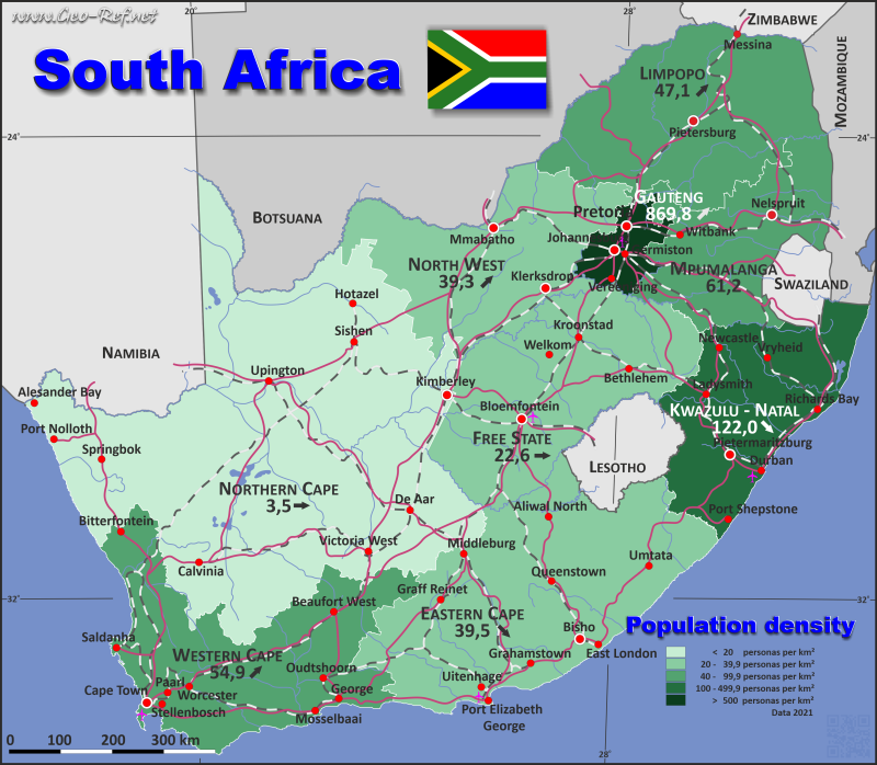 Map South Africa - Administrative division - Population density 2020