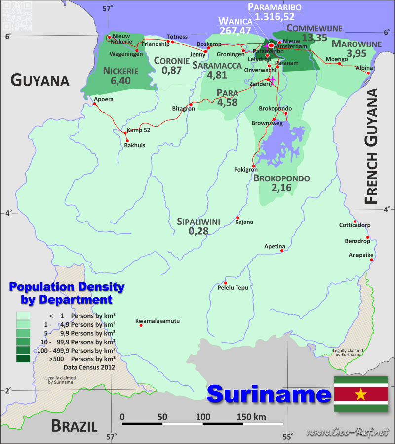 Map Suriname - Population density