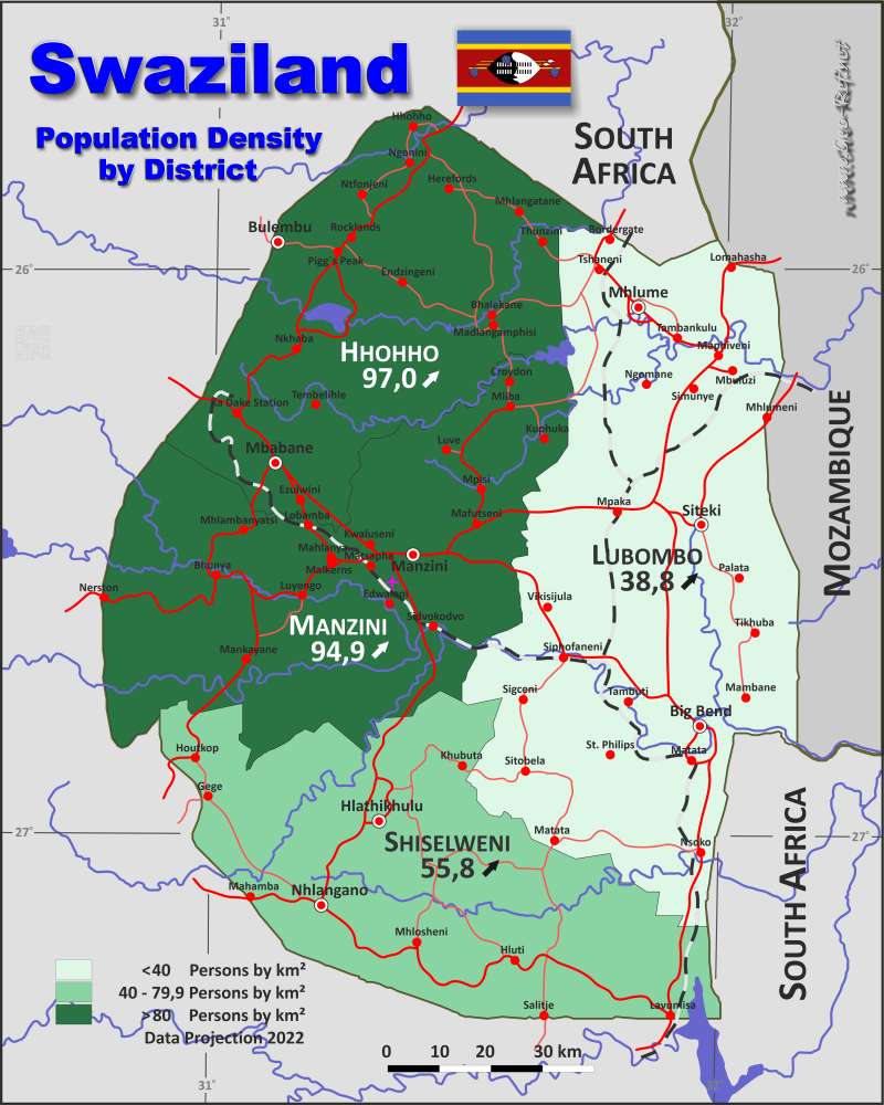 Map Swaziland - Administrative division - Population density 2017