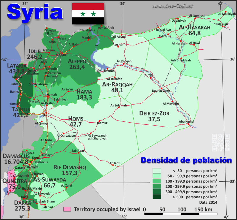 Map Syria - Population density