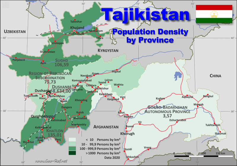 Map Tajikistan - Administrative division - Population density 2020