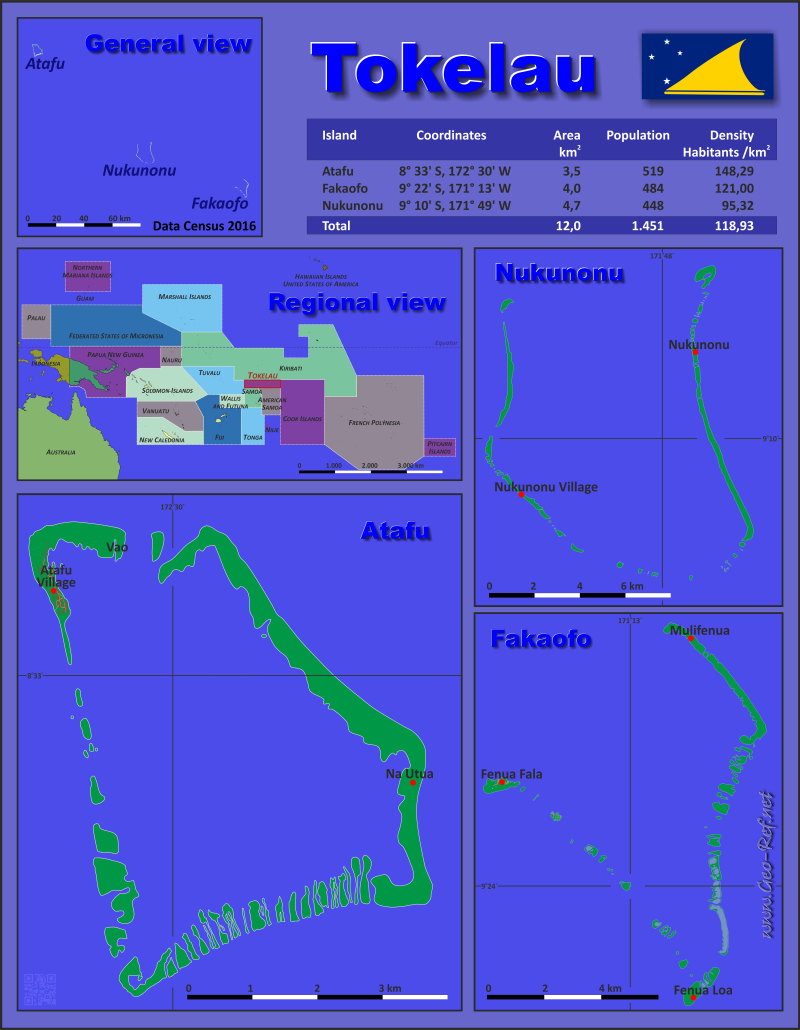 Map Tokelau - Administrative division - Population density 2016
