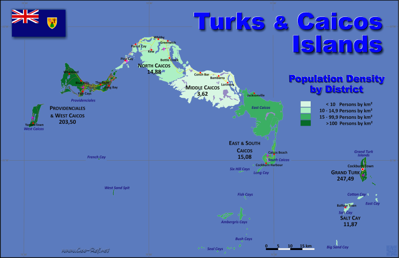 Map Turks & Caicos Islands - Administrative division - Population density 2012