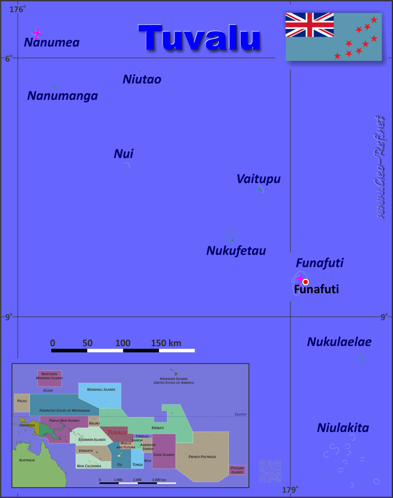 Map Tuvalu - Population density