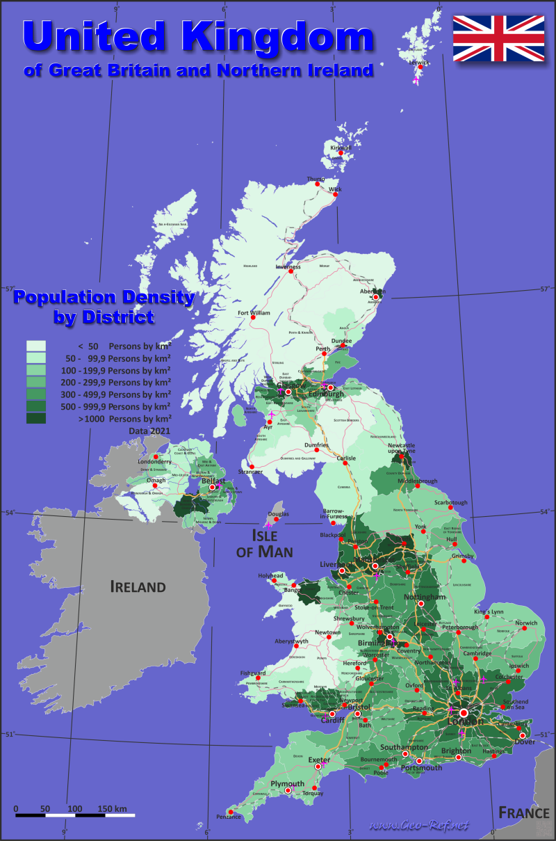 Map Great Britain - Population density