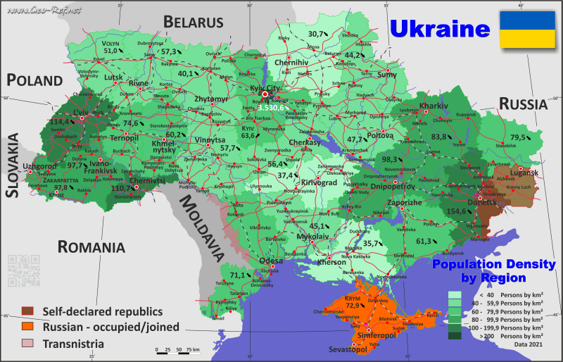 Map Ukraine - Administrative division - Population density 2020