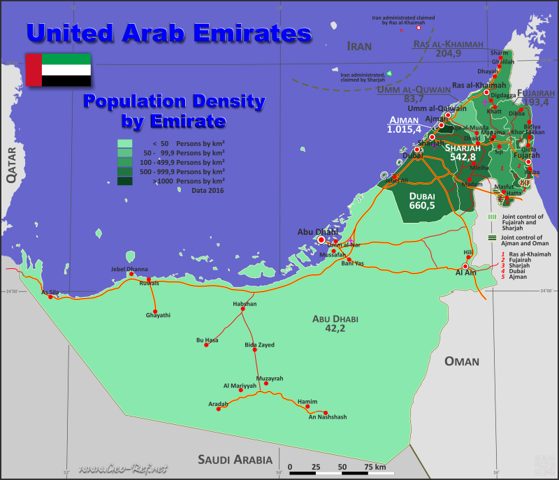 Map United Arab Emirates - Administrative division - Population density 2016