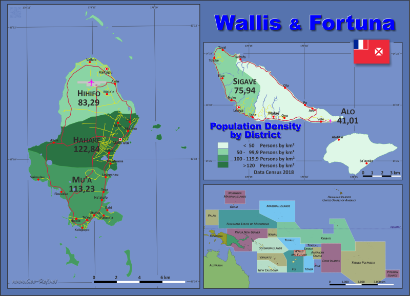 Map Wallis & Futuna - Administrative division - Population density 2018