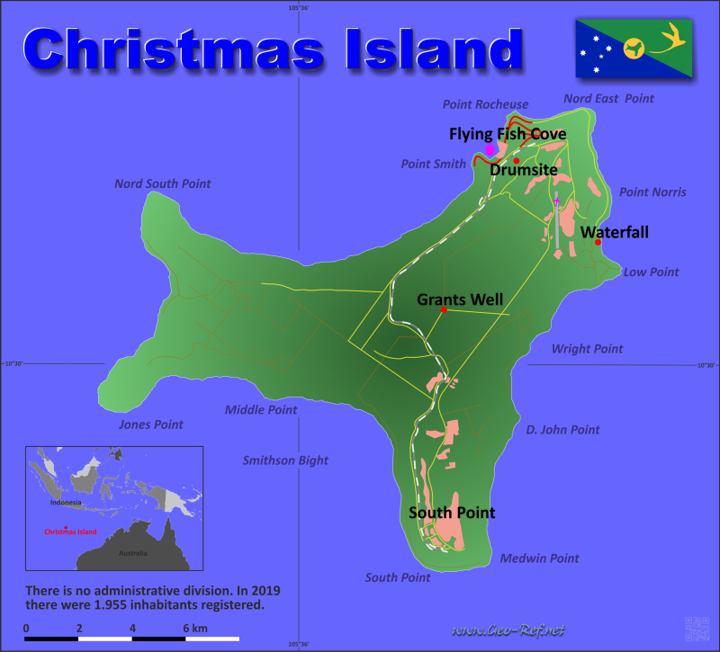 Map Christmas Island - Population density