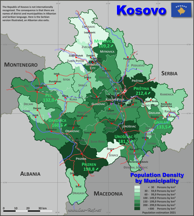 Map Kosovo - Administrative division - Population density 2020