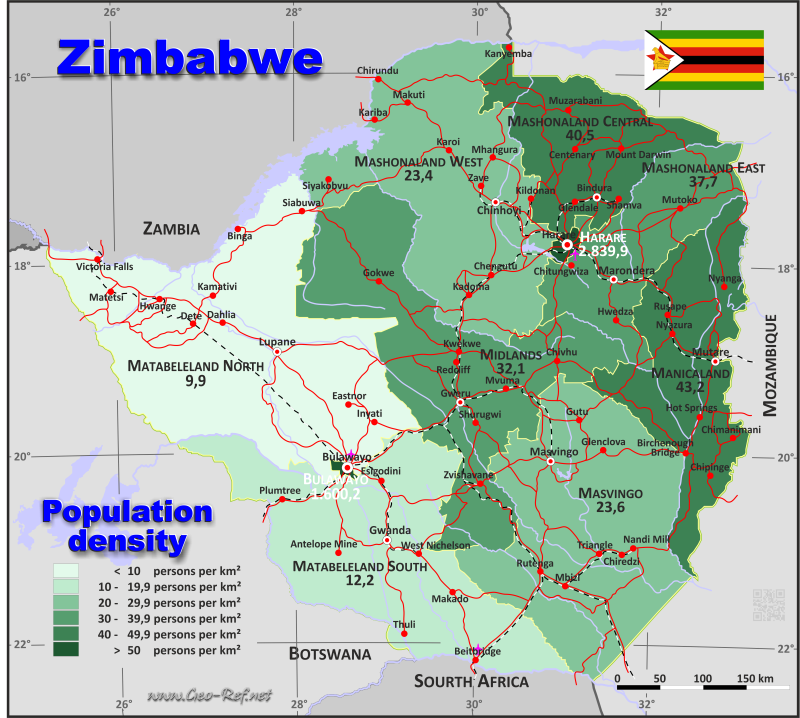 Map Zimbabwe - Administrative division - Population density 2017