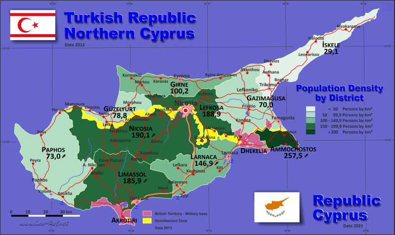Map Northern Cyprus - Population density